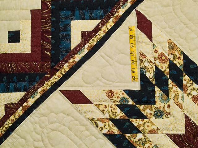Navy Burgundy and Golden Tan Lone Star Log Cabin Quilt Photo 4