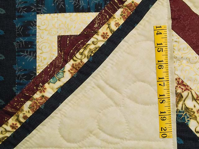 Navy Burgundy and Golden Tan Lone Star Log Cabin Quilt Photo 5