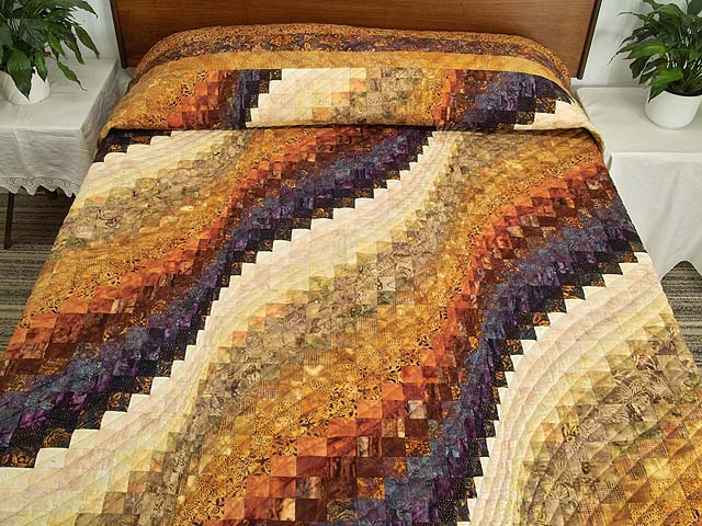King Gold and Plum Hand Painted  Bargello Wave Quilt Photo 1