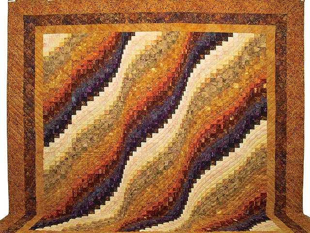 King Gold and Plum Hand Painted  Bargello Wave Quilt Photo 2