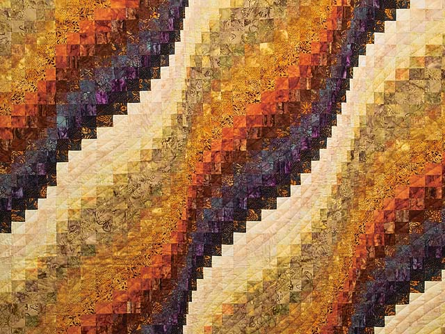 King Gold and Plum Hand Painted  Bargello Wave Quilt Photo 3