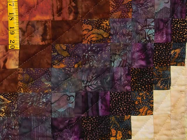 King Gold and Plum Hand Painted  Bargello Wave Quilt Photo 6