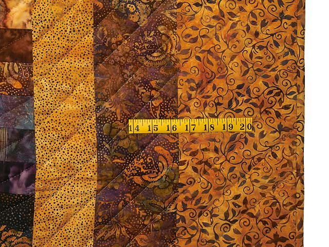 King Gold and Plum Hand Painted  Bargello Wave Quilt Photo 7