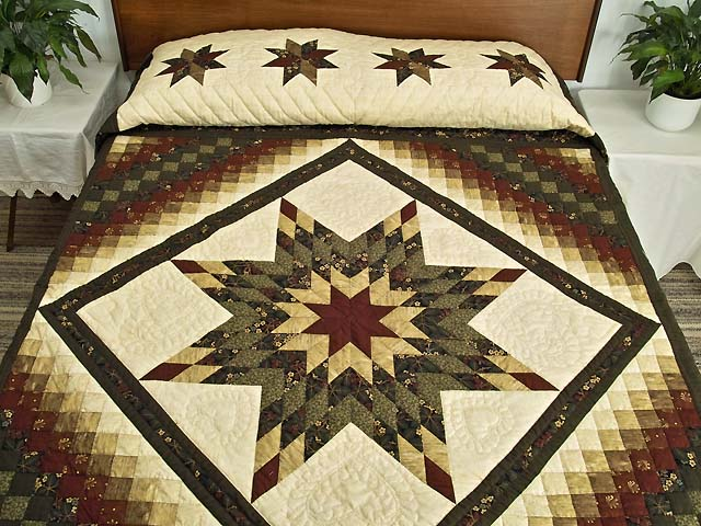King Moss Green Burgundy and Golden Cream Lone Star Trip Quilt Photo 1
