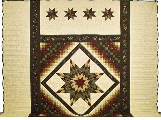 King Moss Green Burgundy and Golden Cream Lone Star Trip Quilt Photo 2