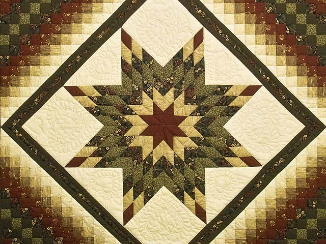 King Moss Green Burgundy and Golden Cream Lone Star Trip Quilt Photo 3
