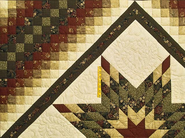 King Moss Green Burgundy and Golden Cream Lone Star Trip Quilt Photo 4