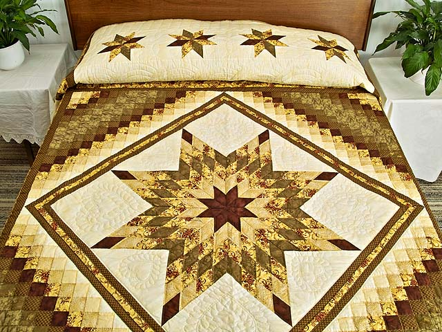 Gold Moss and Burgundy Lone Star Trip Quilt Photo 1