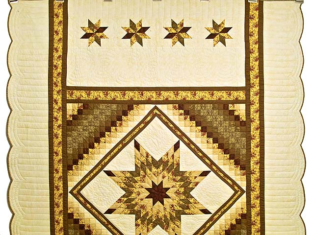 Gold Moss and Burgundy Lone Star Trip Quilt Photo 2
