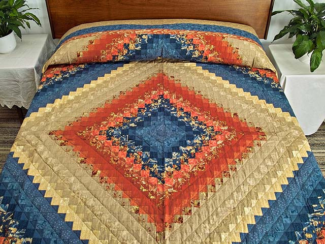 Blue Red and Tan Color Splash Quilt Photo 1