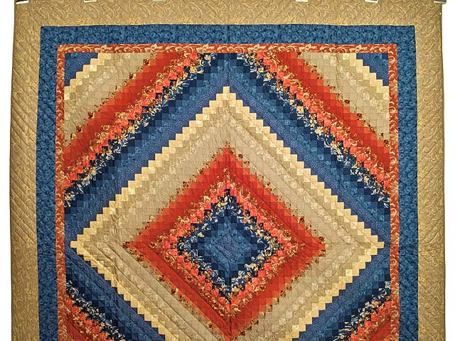 Blue Red and Tan Color Splash Quilt Photo 2