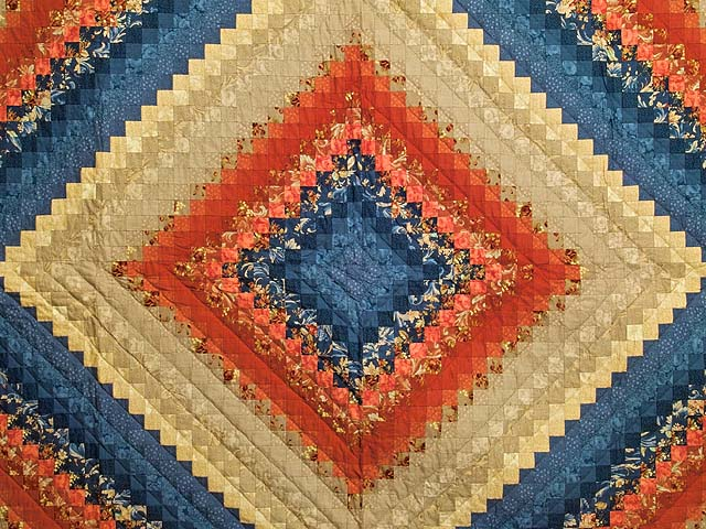 Blue Red and Tan Color Splash Quilt Photo 3
