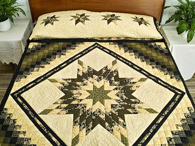 Moss Gold Black and Peach Lone Star Trip Quilt Photo 1