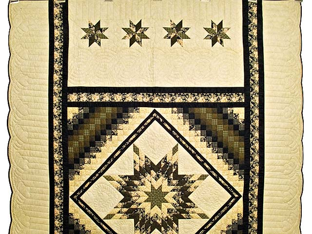 Moss Gold Black and Peach Lone Star Trip Quilt Photo 2