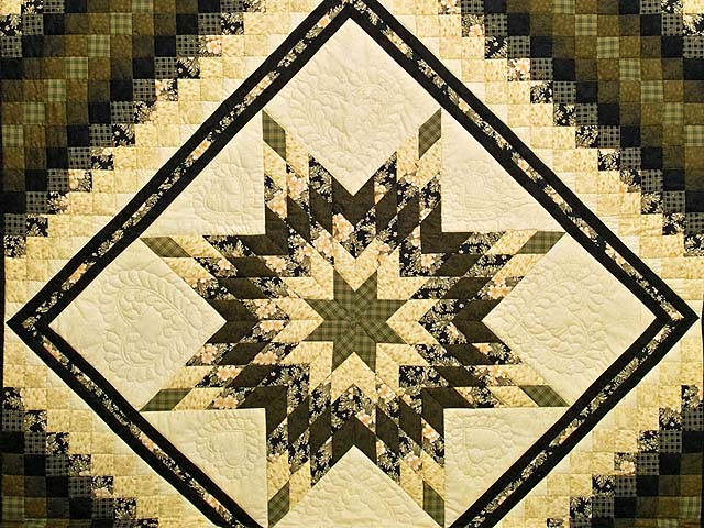 Moss Gold Black and Peach Lone Star Trip Quilt Photo 3