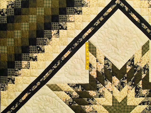 Moss Gold Black and Peach Lone Star Trip Quilt Photo 4