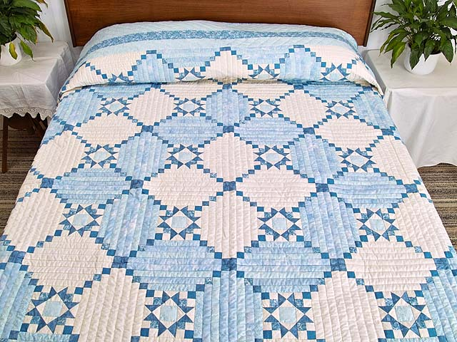 King Pastel Blue and Ivory Stars in the Cabin Quilt Photo 1