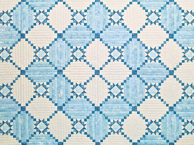 King Pastel Blue and Ivory Stars in the Cabin Quilt Photo 3