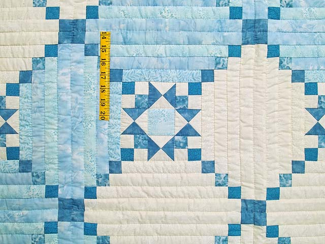 King Pastel Blue and Ivory Stars in the Cabin Quilt Photo 4