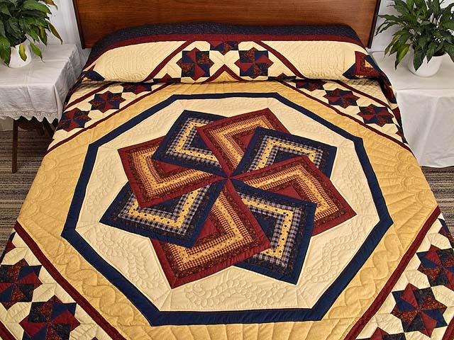 Navy Burgundy and Tan Star Spin Quilt Photo 1