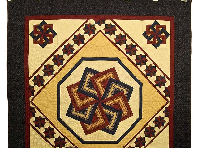 Navy Burgundy and Tan Star Spin Quilt Photo 2
