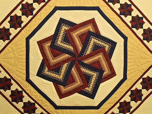 Navy Burgundy and Tan Star Spin Quilt Photo 3
