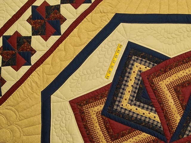 Navy Burgundy and Tan Star Spin Quilt Photo 4