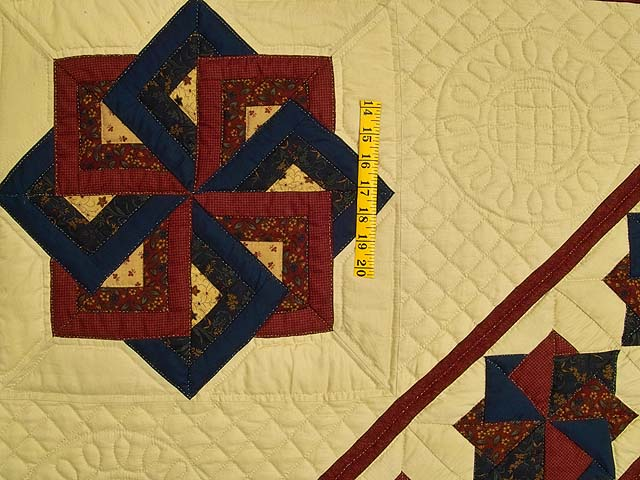 Navy Burgundy and Tan Star Spin Quilt Photo 6