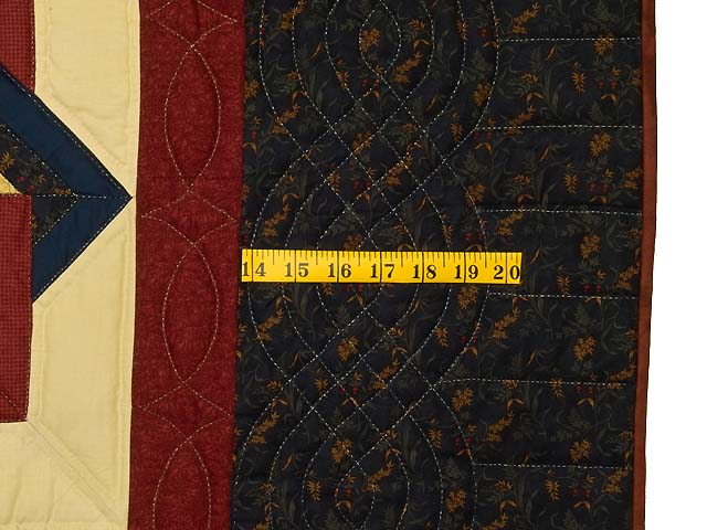 Navy Burgundy and Tan Star Spin Quilt Photo 7