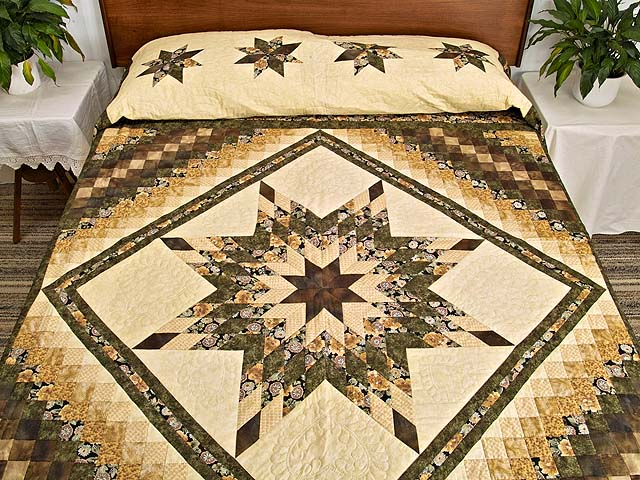Moss Mauve and Golden Tan Lone Star Trip Quilt Photo 1