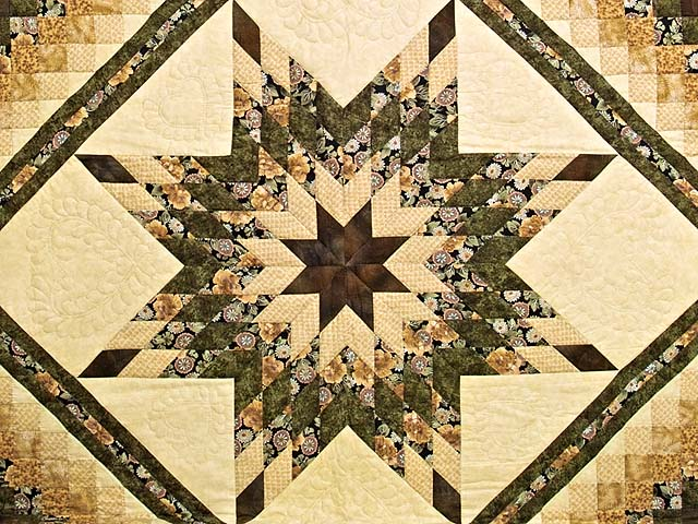 Moss Mauve and Golden Tan Lone Star Trip Quilt Photo 3
