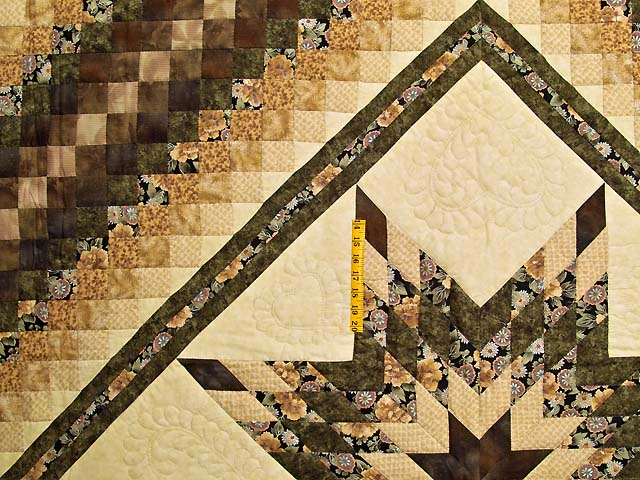 Moss Mauve and Golden Tan Lone Star Trip Quilt Photo 4