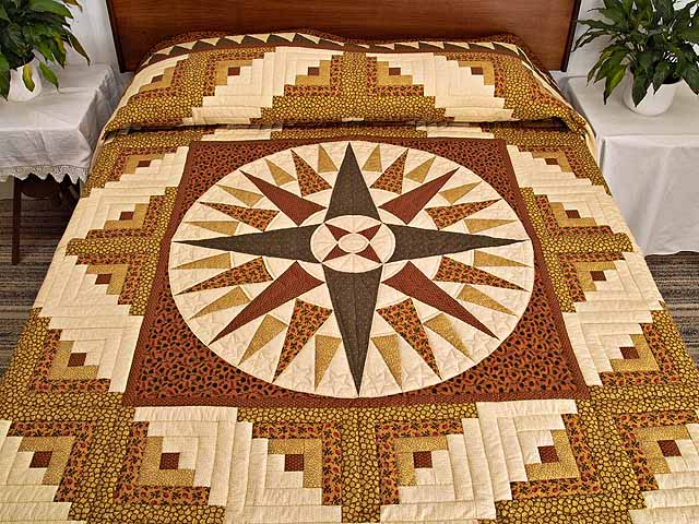 Brick Red Moss and Gold Compass Log Cabin Quilt Photo 1