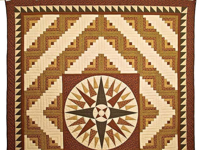 Brick Red Moss and Gold Compass Log Cabin Quilt Photo 2
