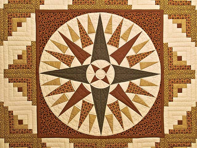 Brick Red Moss and Gold Compass Log Cabin Quilt Photo 3