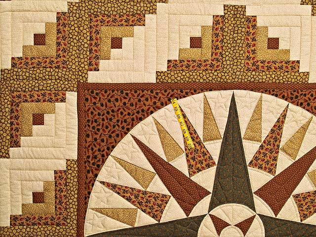 Brick Red Moss and Gold Compass Log Cabin Quilt Photo 4