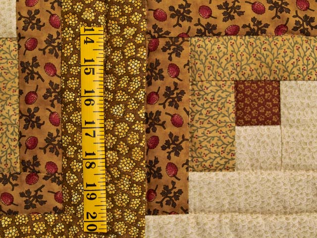 Brick Red Moss and Gold Compass Log Cabin Quilt Photo 6