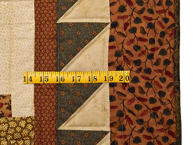 Brick Red Moss and Gold Compass Log Cabin Quilt Photo 7