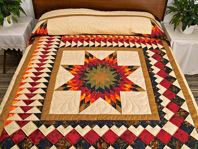 King Fire Red Green and Gold Star Quest Quilt Photo 1