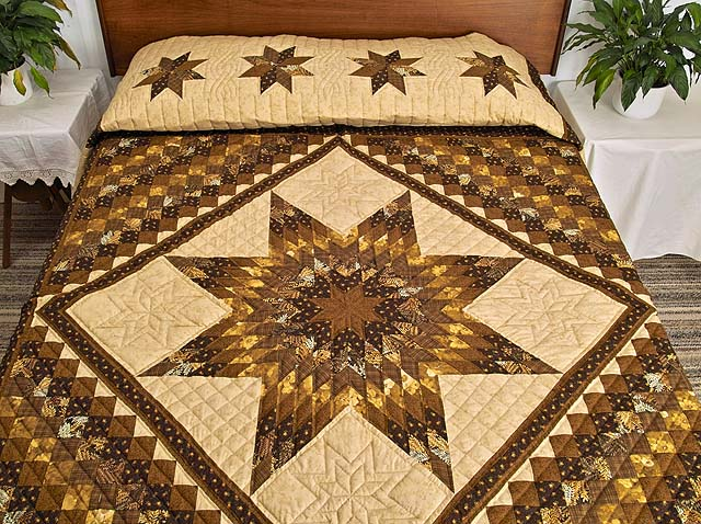 Brown and Gold Lone Star Trip Quilt Photo 1