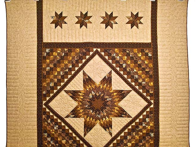 Brown and Gold Lone Star Trip Quilt Photo 2