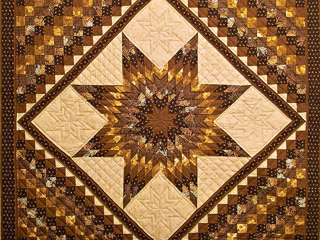 Brown and Gold Lone Star Trip Quilt Photo 3