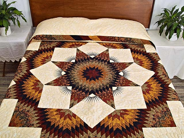 King Burgundy Black Gold and Green  Broken Star Quilt Photo 1