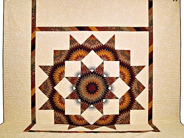 King Burgundy Black Gold and Green  Broken Star Quilt Photo 2