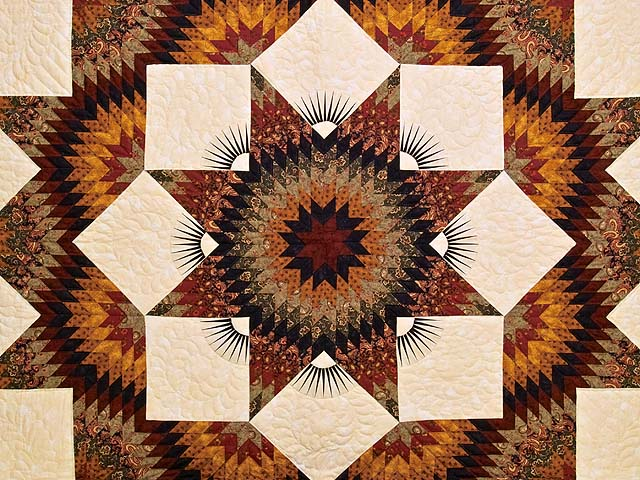 King Burgundy Black Gold and Green  Broken Star Quilt Photo 3