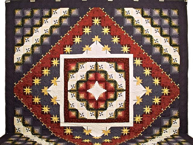 King Plum Gold and Burgundy Breeze Log Cabin Quilt Photo 2