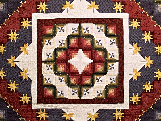 King Plum Gold and Burgundy Breeze Log Cabin Quilt Photo 3