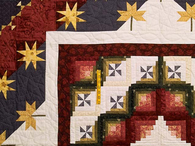 King Plum Gold and Burgundy Breeze Log Cabin Quilt Photo 4