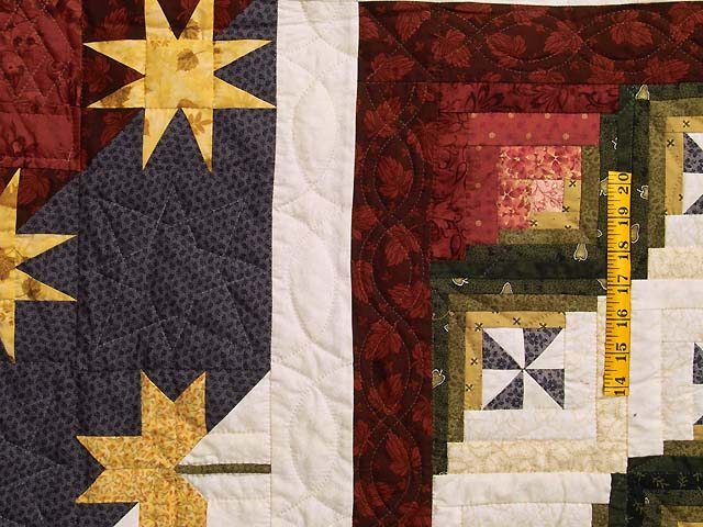 King Plum Gold and Burgundy Breeze Log Cabin Quilt Photo 5