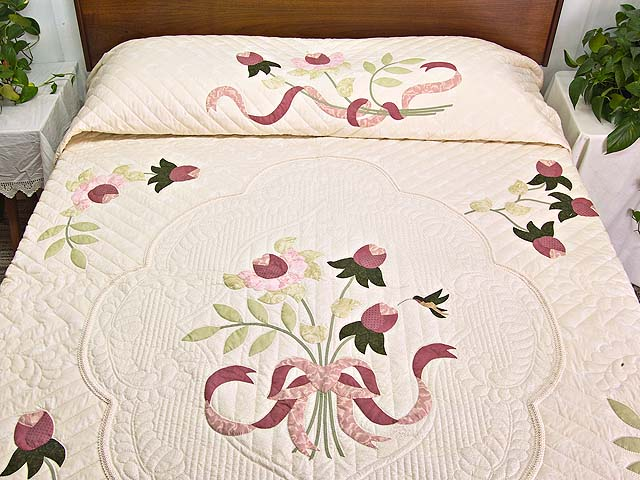 King Ivory and Dusty Rose Lancaster Treasures Quilt Photo 1